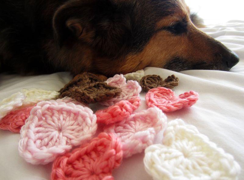 Mini Crochet Hearts and Puppy