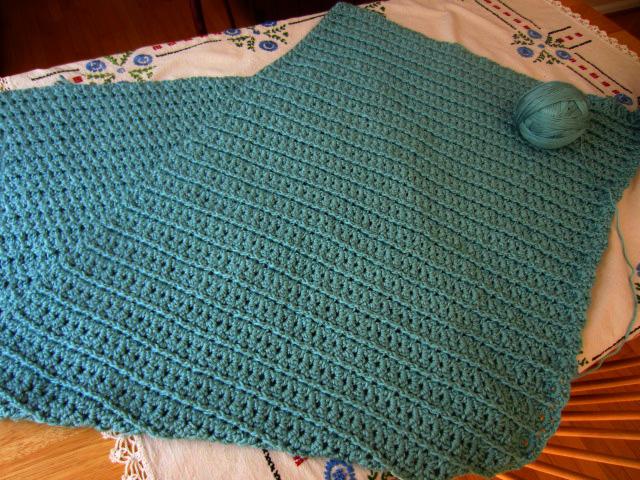 Seafoam crochet afghan progress-aug12