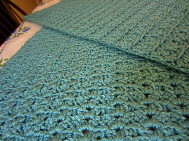 Crochet sea foam afghan progress both sides-aug12
