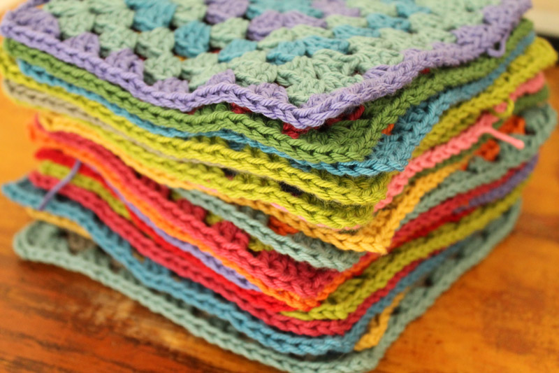 Stack of Colorful Crochet Granny Squares